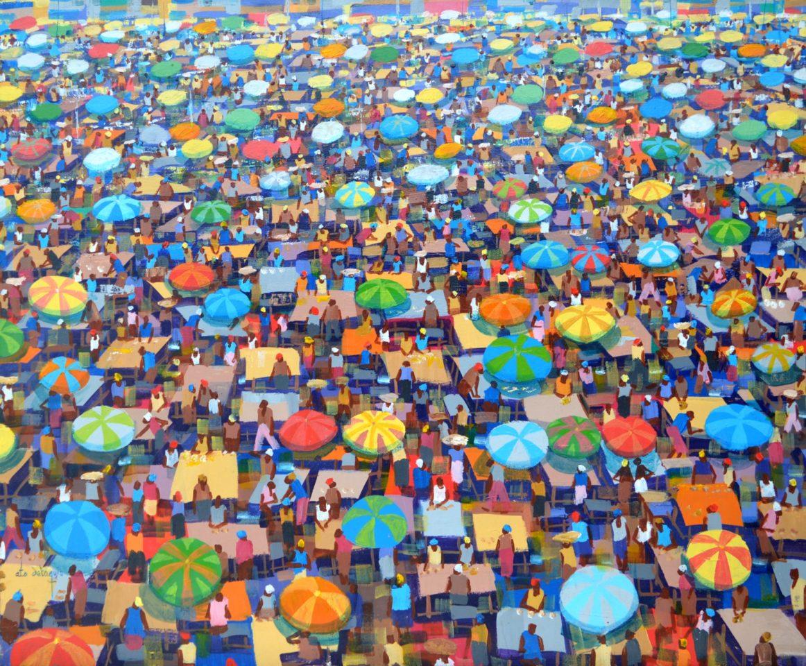 Table top market with umbrellas